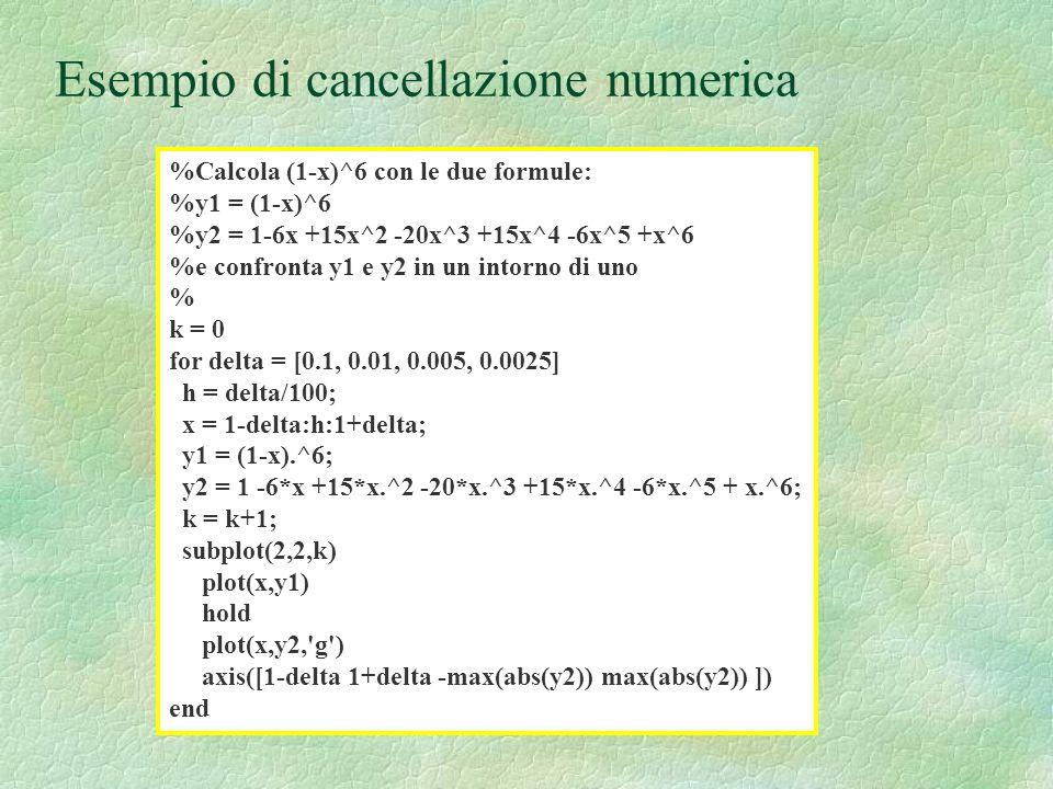 Esempio di cancellazione numerica