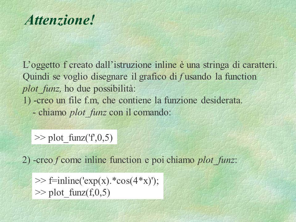 Attenzione! L'oggetto f creato dall'istruzione inline è una stringa di caratteri.