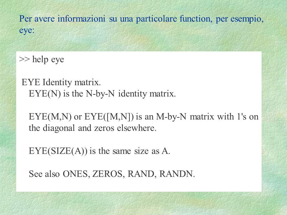Per avere informazioni su una particolare function, per esempio, eye: