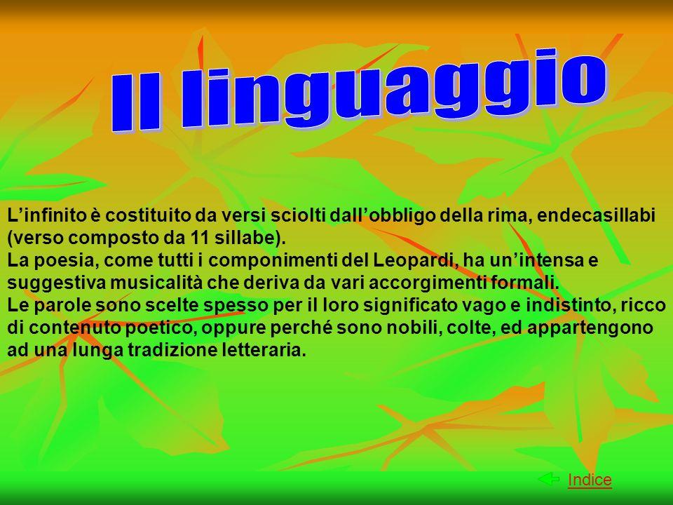 Il linguaggioL'infinito è costituito da versi sciolti dall'obbligo della rima, endecasillabi (verso composto da 11 sillabe).