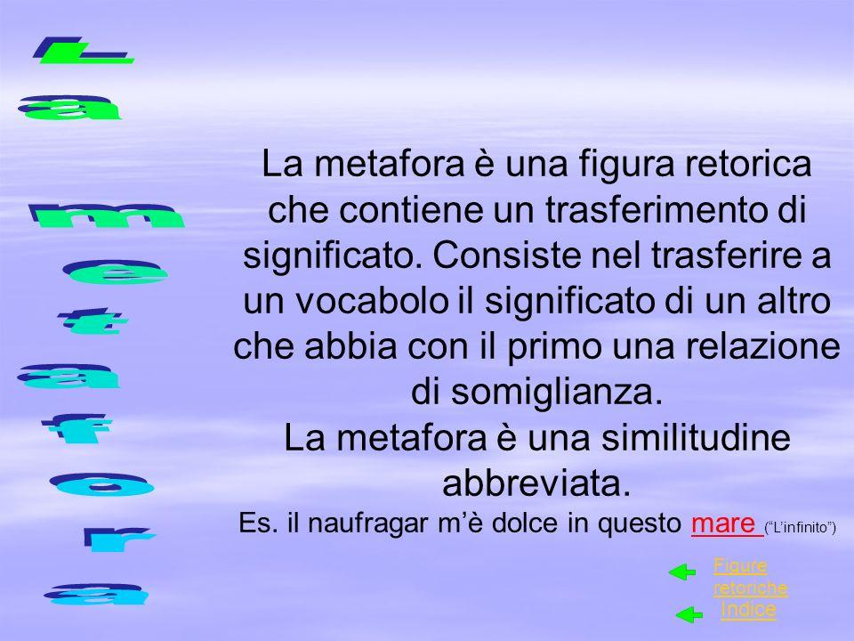 La metafora è una figura retorica che contiene un trasferimento di significato. Consiste nel trasferire a un vocabolo il significato di un altro che abbia con il primo una relazione di somiglianza.