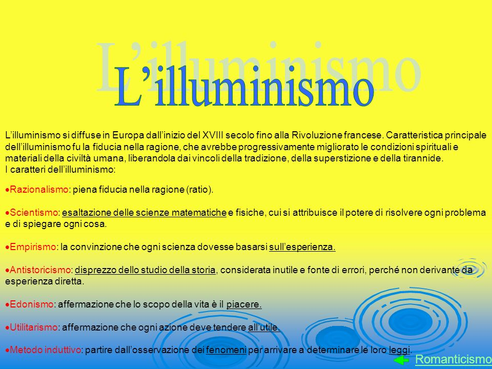 L'illuminismo Romanticismo