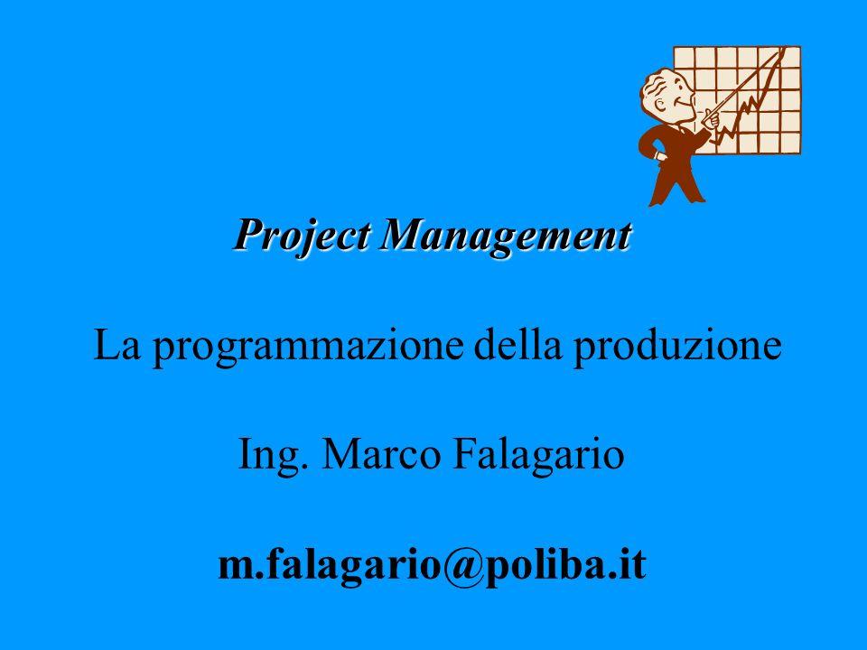 Project Management La programmazione della produzione Ing