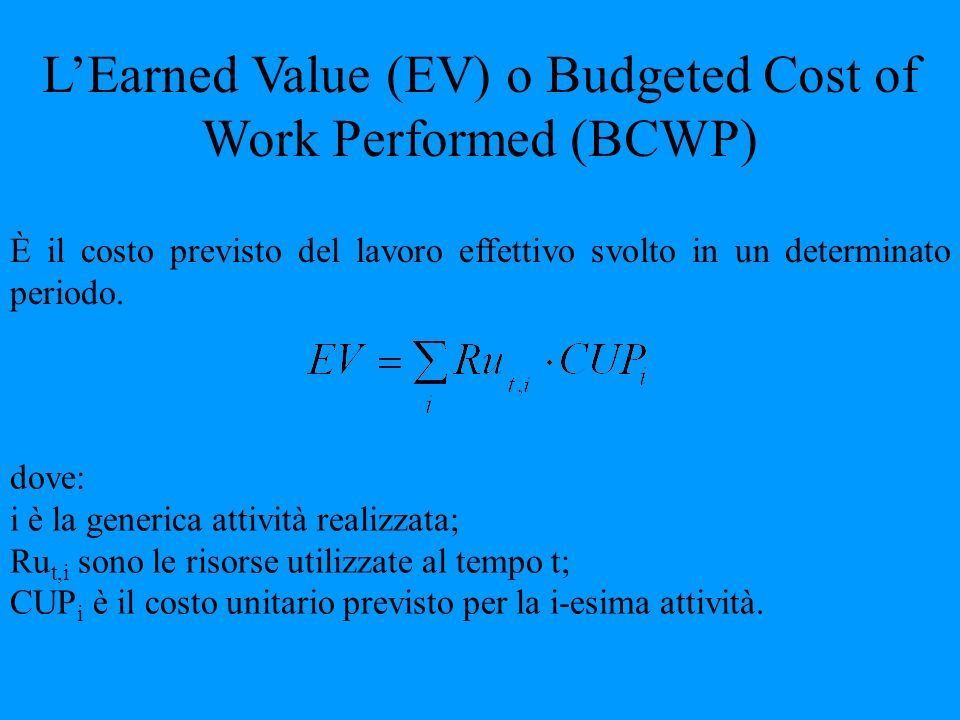 L'Earned Value (EV) o Budgeted Cost of Work Performed (BCWP)