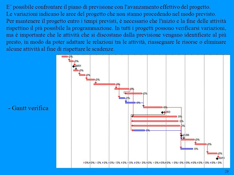E' possibile confrontare il piano di previsione con l avanzamento effettivo del progetto.