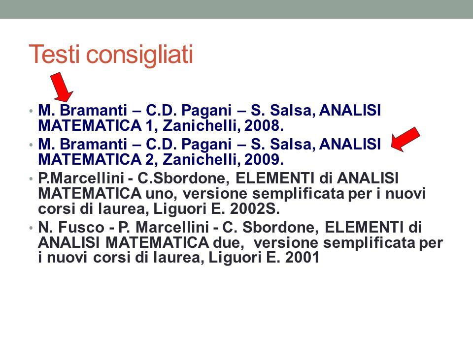 Testi consigliati M. Bramanti – C.D. Pagani – S. Salsa, ANALISI MATEMATICA 1, Zanichelli, 2008.