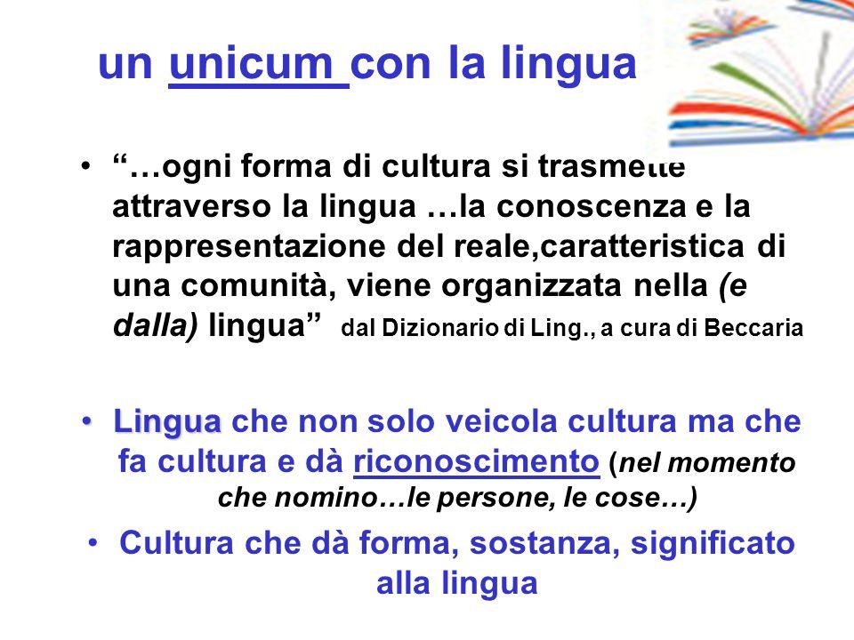 Cultura che dà forma, sostanza, significato alla lingua