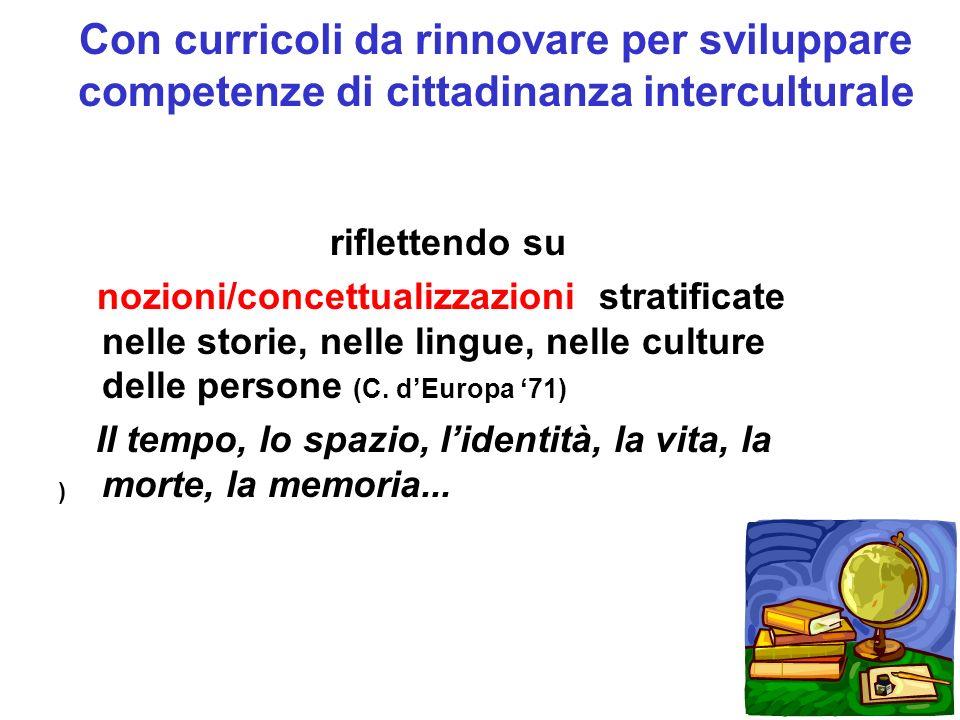 Con curricoli da rinnovare per sviluppare competenze di cittadinanza interculturale