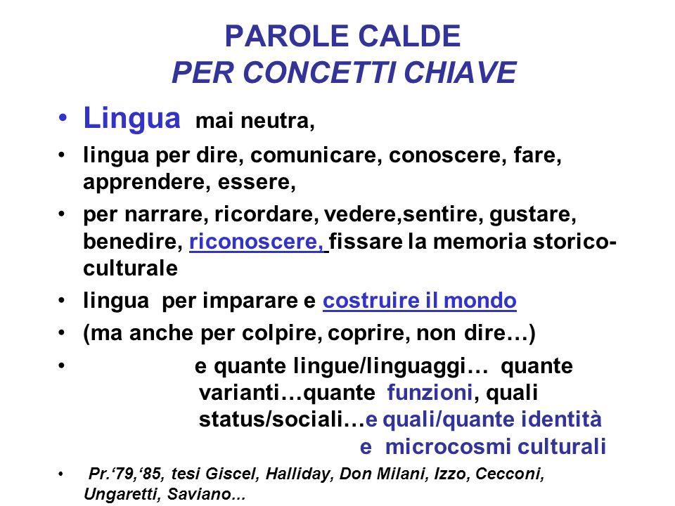 PAROLE CALDE PER CONCETTI CHIAVE