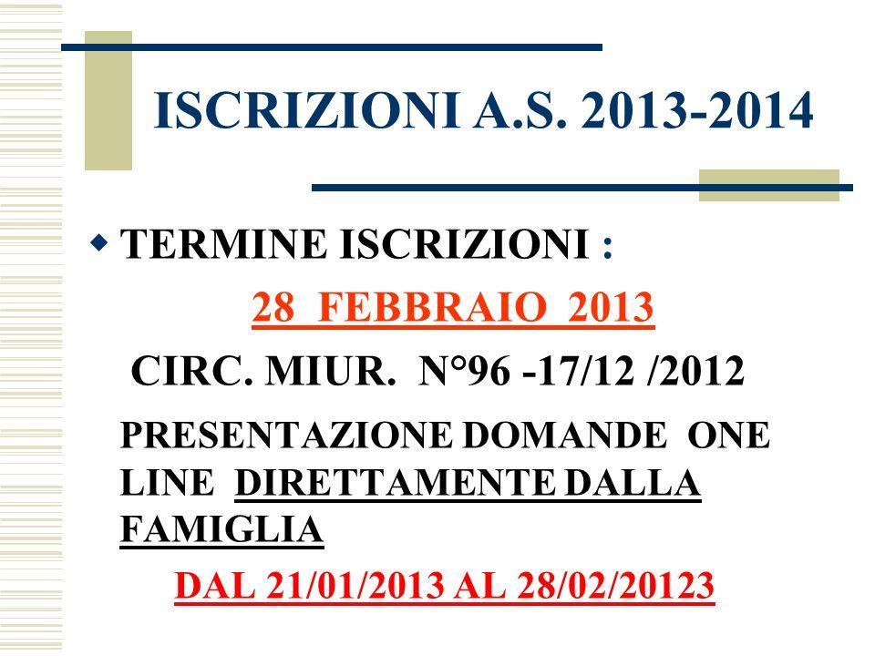 ISCRIZIONI A.S. 2013-2014 TERMINE ISCRIZIONI :