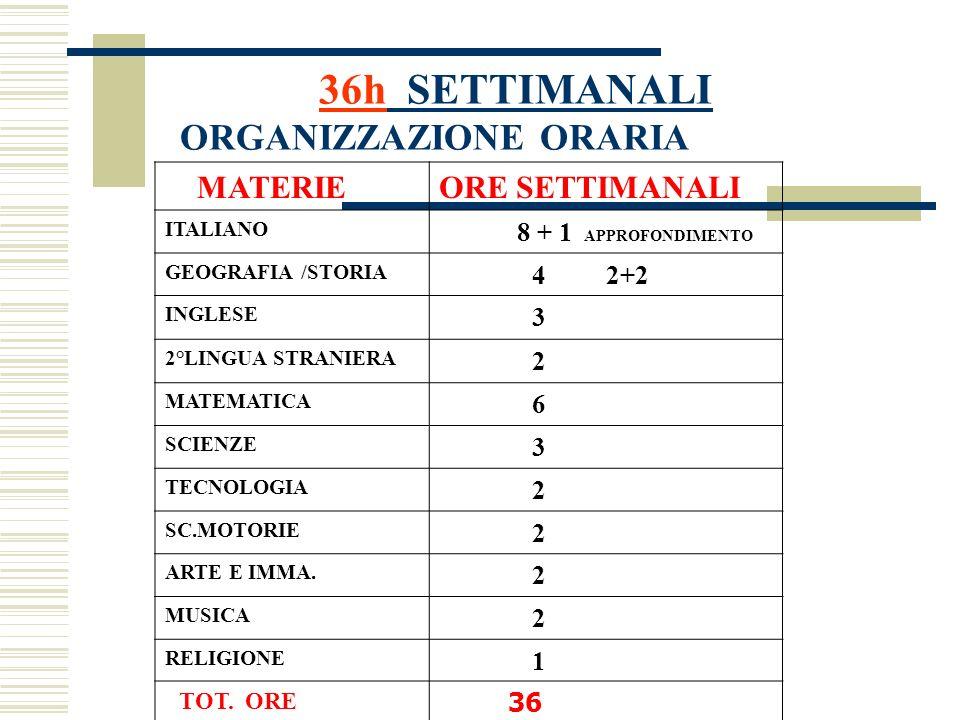36h SETTIMANALI ORGANIZZAZIONE ORARIA