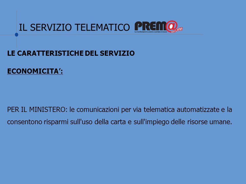 IL SERVIZIO TELEMATICO