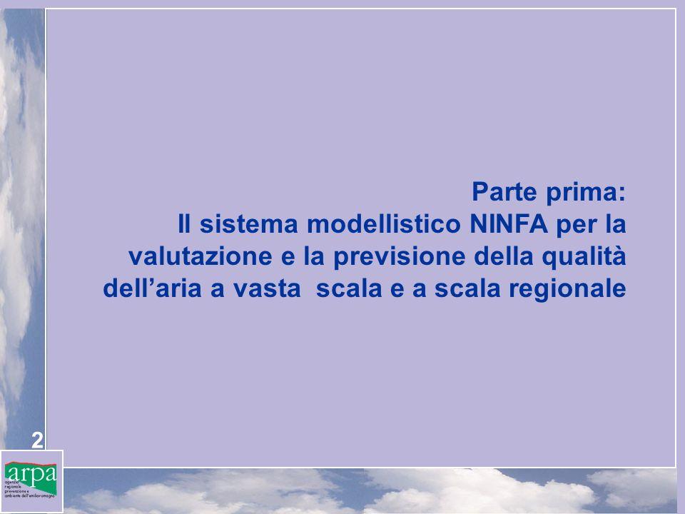 Parte prima: Il sistema modellistico NINFA per la valutazione e la previsione della qualità dell'aria a vasta scala e a scala regionale