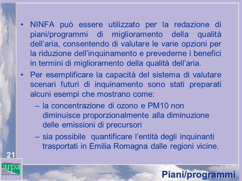 NINFA può essere utilizzato per la redazione di piani/programmi di miglioramento della qualità dell'aria, consentendo di valutare le varie opzioni per la riduzione dell'inquinamento e prevederne i benefici in termini di miglioramento della qualità dell'aria.