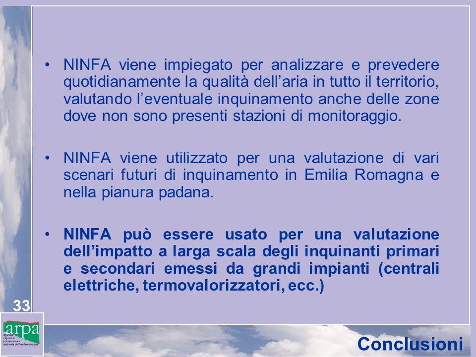 NINFA viene impiegato per analizzare e prevedere quotidianamente la qualità dell'aria in tutto il territorio, valutando l'eventuale inquinamento anche delle zone dove non sono presenti stazioni di monitoraggio.