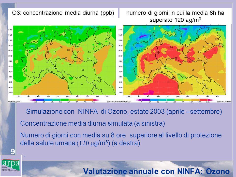 Valutazione annuale con NINFA: Ozono