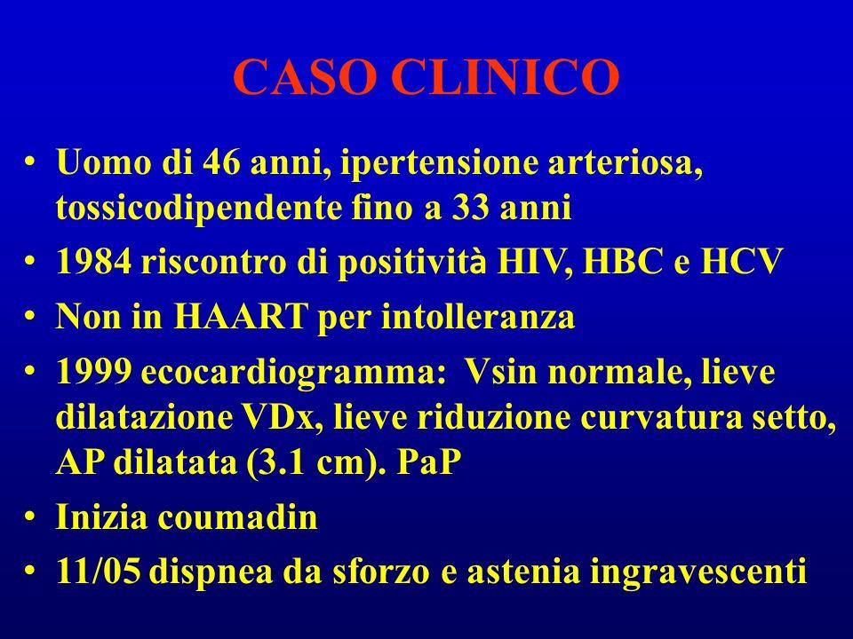 CASO CLINICO Uomo di 46 anni, ipertensione arteriosa, tossicodipendente fino a 33 anni. 1984 riscontro di positività HIV, HBC e HCV.