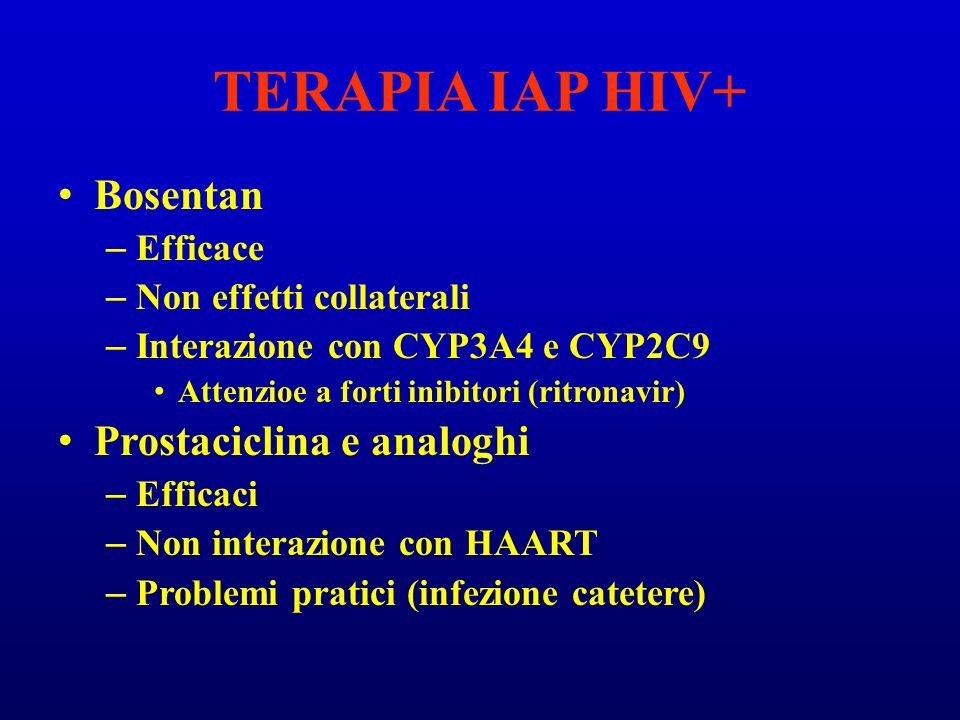 TERAPIA IAP HIV+ Bosentan Prostaciclina e analoghi Efficace