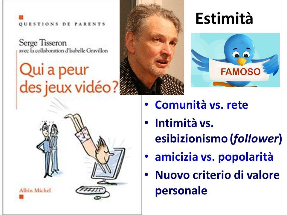 Estimità Comunità vs. rete Intimità vs. esibizionismo (follower)