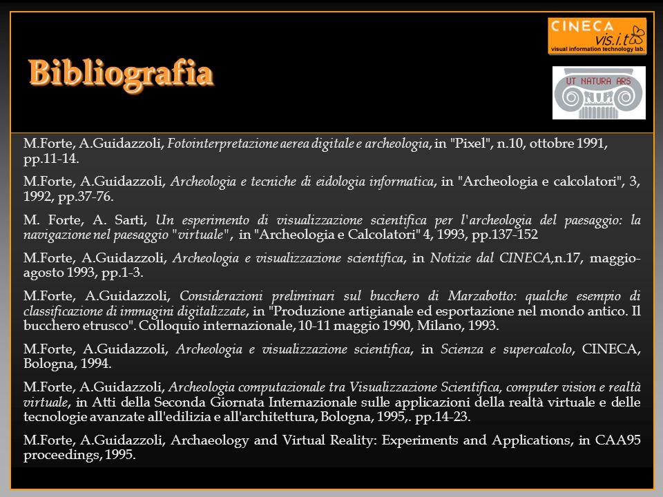 BibliografiaM.Forte, A.Guidazzoli, Fotointerpretazione aerea digitale e archeologia, in Pixel , n.10, ottobre 1991, pp.11-14.
