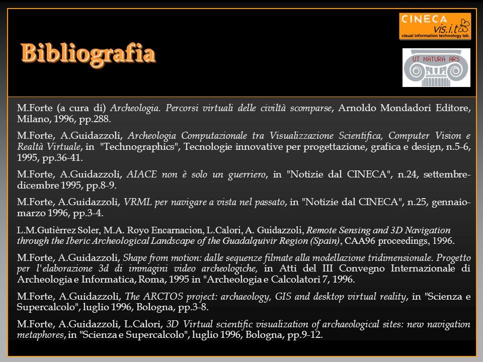 BibliografiaM.Forte (a cura di) Archeologia. Percorsi virtuali delle civiltà scomparse, Arnoldo Mondadori Editore, Milano, 1996, pp.288.