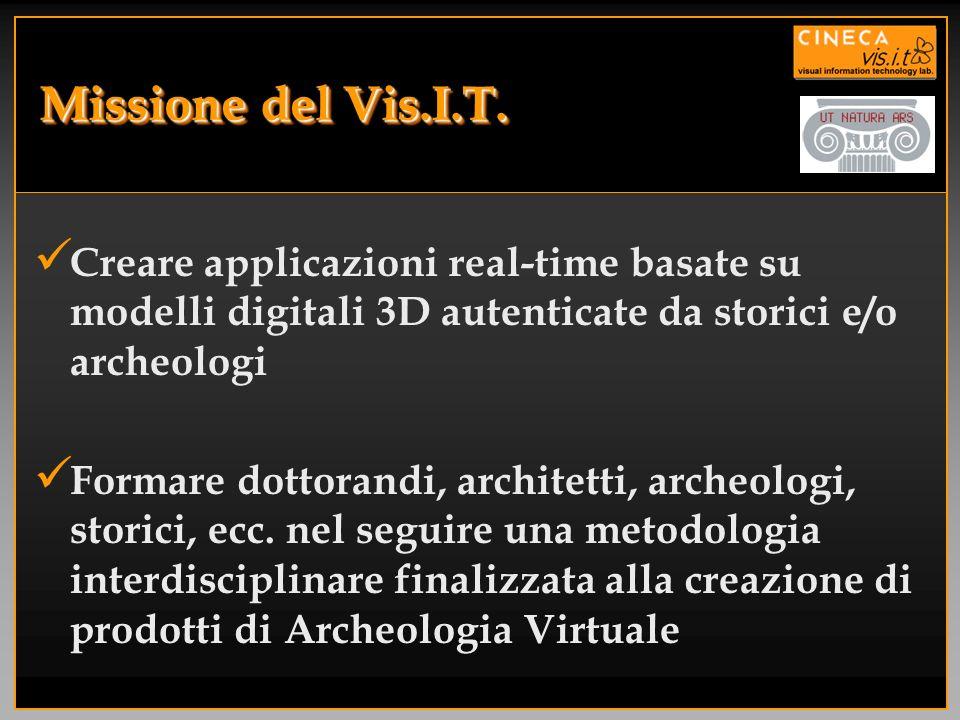 Missione del Vis.I.T.Creare applicazioni real-time basate su modelli digitali 3D autenticate da storici e/o archeologi.