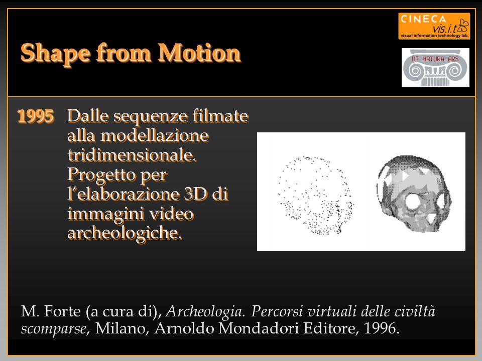 Shape from Motion1995 Dalle sequenze filmate alla modellazione tridimensionale. Progetto per l'elaborazione 3D di immagini video archeologiche.