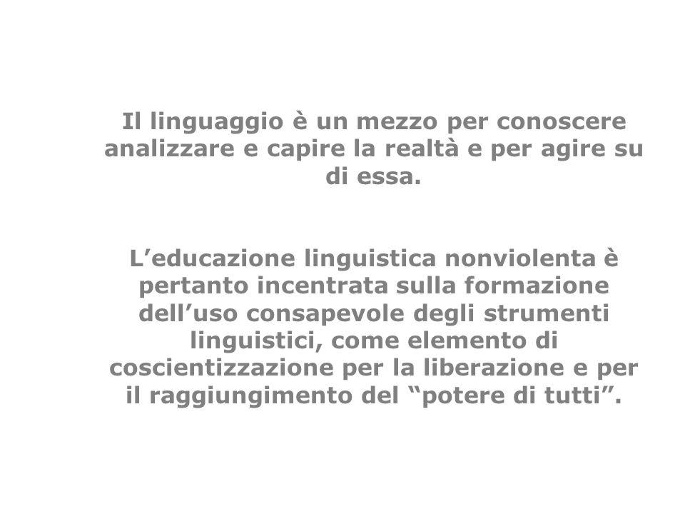 Il linguaggio è un mezzo per conoscere analizzare e capire la realtà e per agire su di essa.