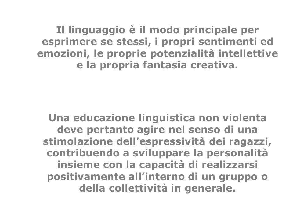 Il linguaggio è il modo principale per esprimere se stessi, i propri sentimenti ed emozioni, le proprie potenzialità intellettive e la propria fantasia creativa.