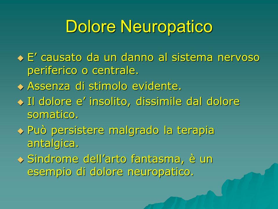 Dolore NeuropaticoE' causato da un danno al sistema nervoso periferico o centrale. Assenza di stimolo evidente.
