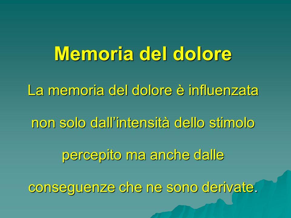 Memoria del dolore La memoria del dolore è influenzata non solo dall'intensità dello stimolo percepito ma anche dalle conseguenze che ne sono derivate.