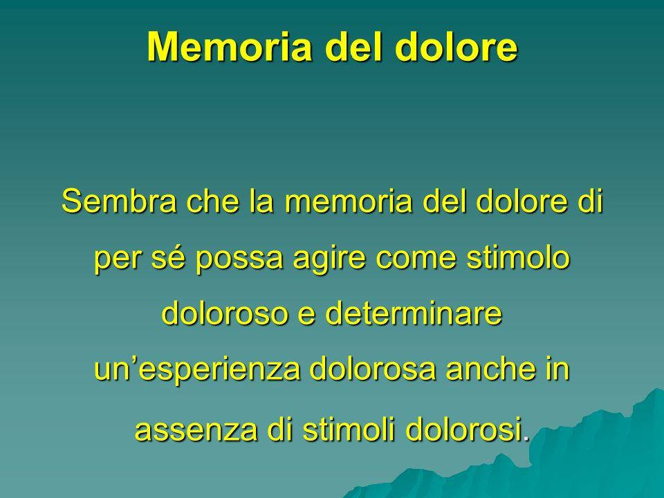 Memoria del dolore Sembra che la memoria del dolore di per sé possa agire come stimolo doloroso e determinare un'esperienza dolorosa anche in assenza di stimoli dolorosi.