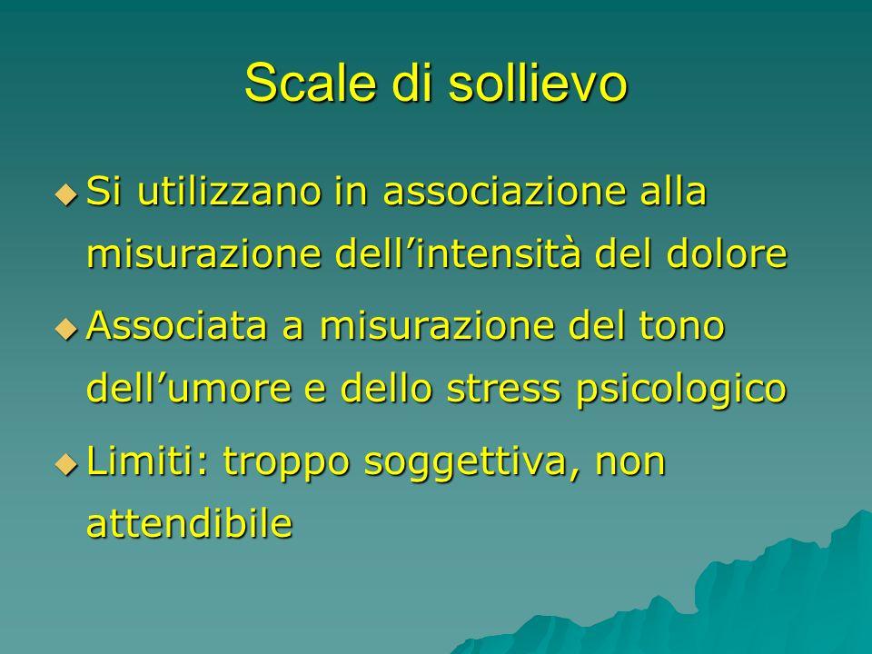 Scale di sollievo Si utilizzano in associazione alla misurazione dell'intensità del dolore.
