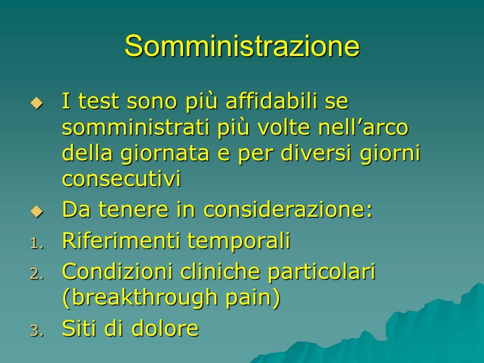 Somministrazione I test sono più affidabili se somministrati più volte nell'arco della giornata e per diversi giorni consecutivi.