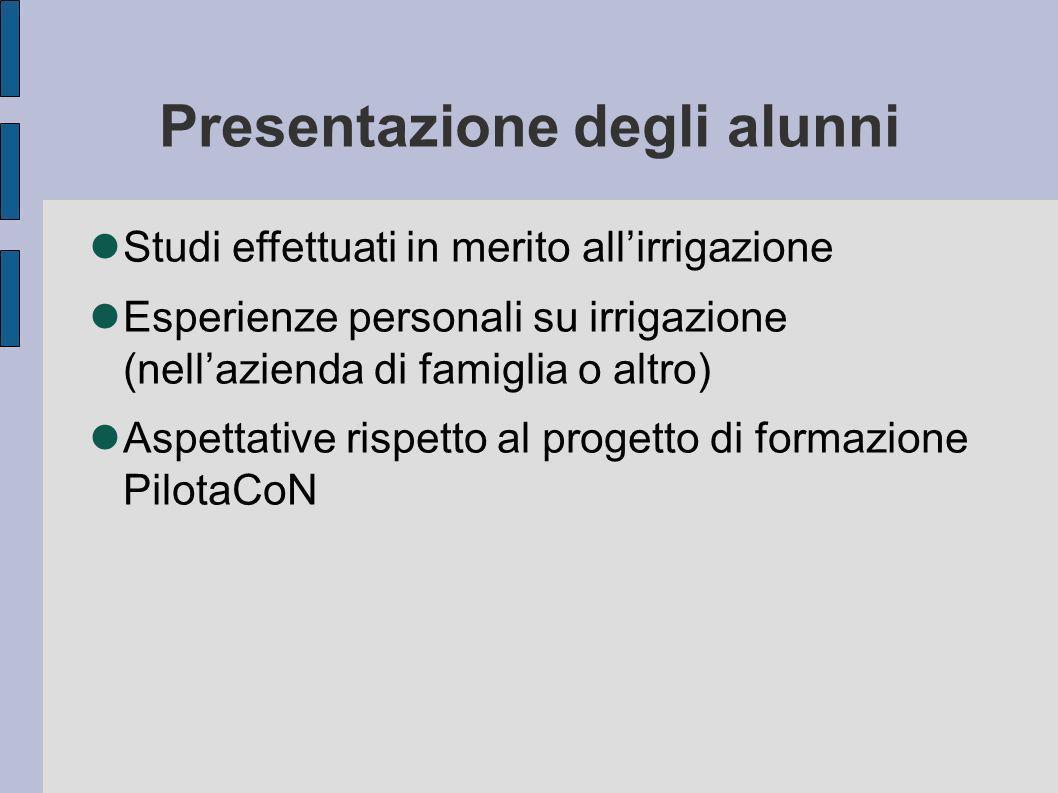 Presentazione degli alunni
