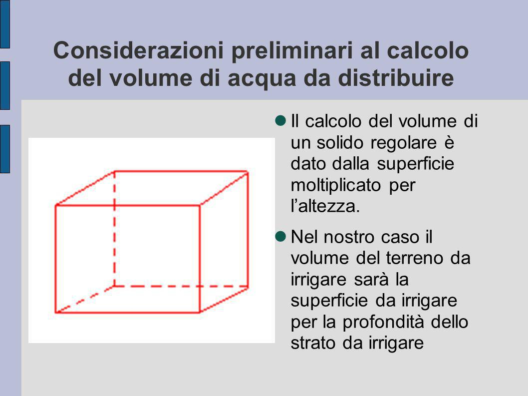 Considerazioni preliminari al calcolo del volume di acqua da distribuire