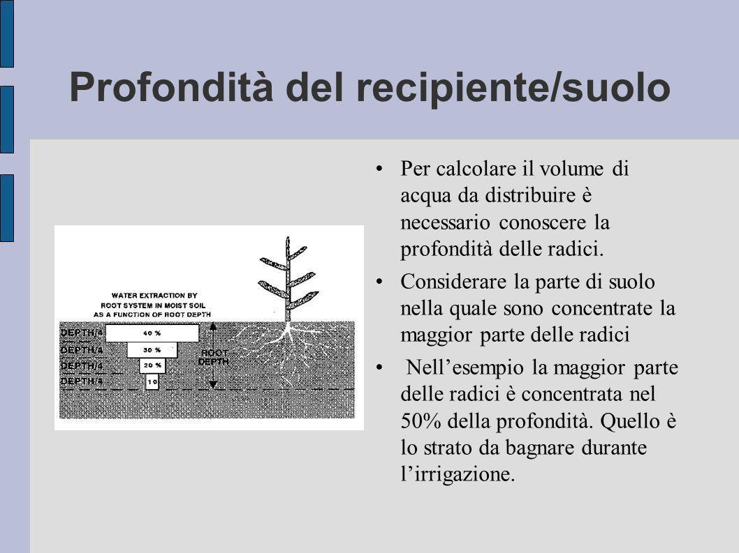 Profondità del recipiente/suolo