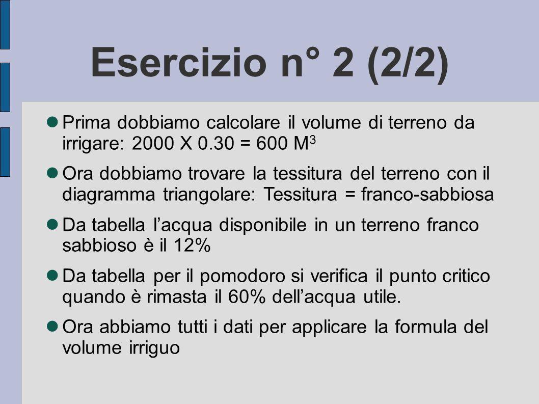 Esercizio n° 2 (2/2) Prima dobbiamo calcolare il volume di terreno da irrigare: 2000 X 0.30 = 600 M3.