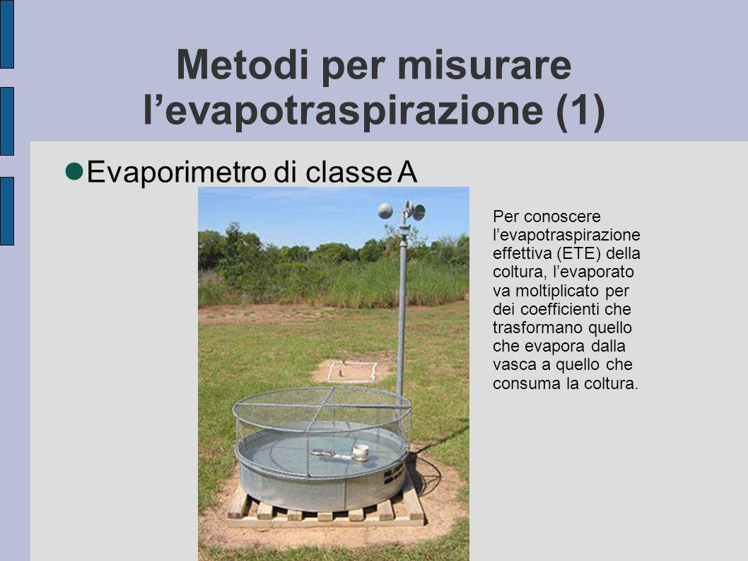 Metodi per misurare l'evapotraspirazione (1)
