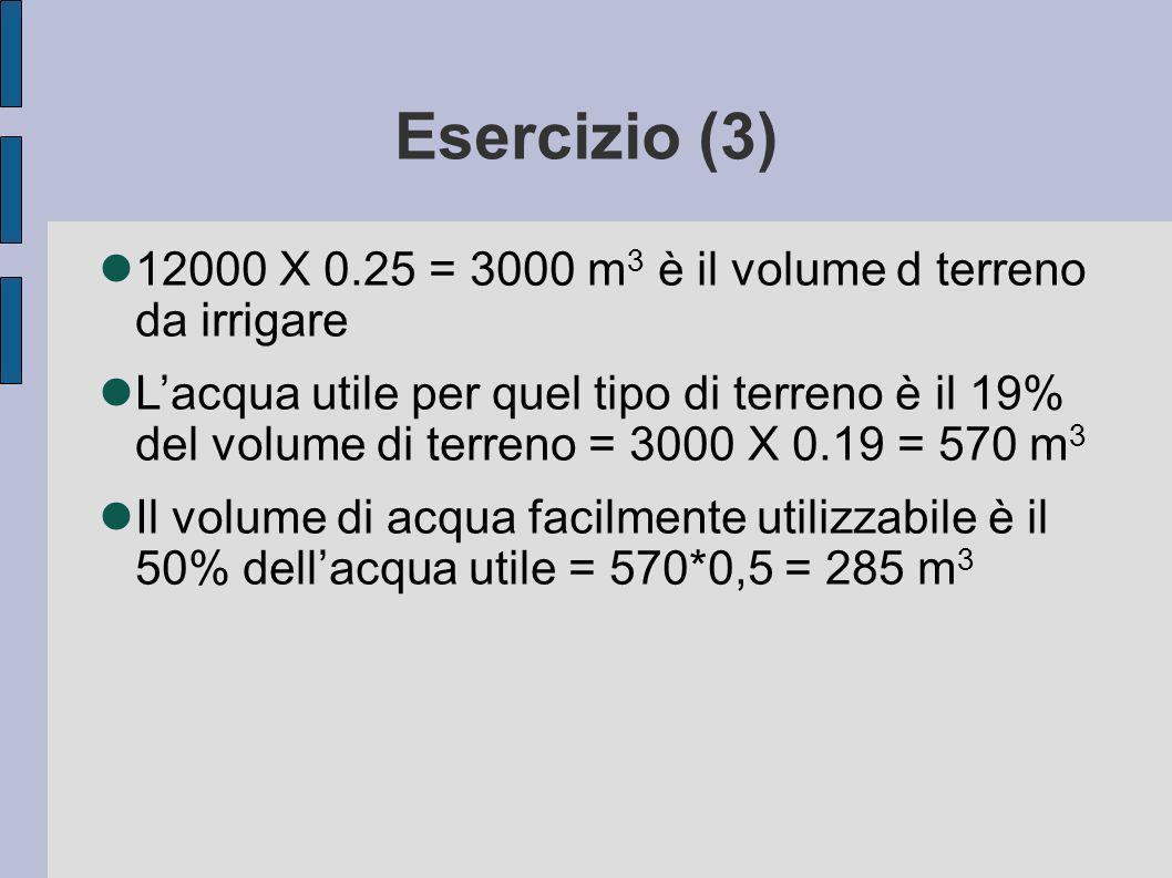 Esercizio (3) 12000 X 0.25 = 3000 m3 è il volume d terreno da irrigare.