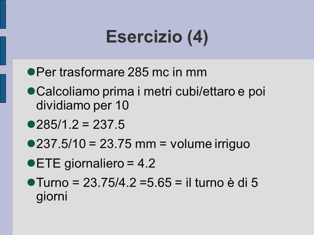 Esercizio (4) Per trasformare 285 mc in mm