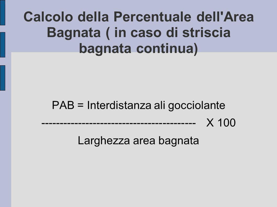 Calcolo della Percentuale dell Area Bagnata ( in caso di striscia bagnata continua)