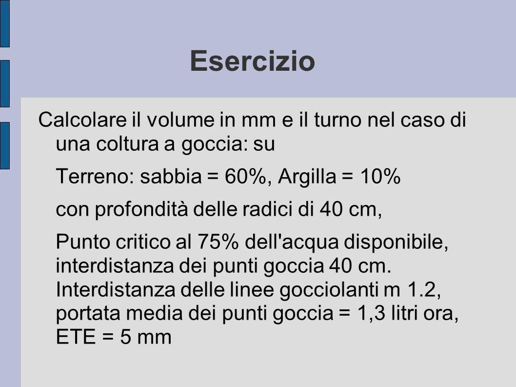 Esercizio Calcolare il volume in mm e il turno nel caso di una coltura a goccia: su. Terreno: sabbia = 60%, Argilla = 10%