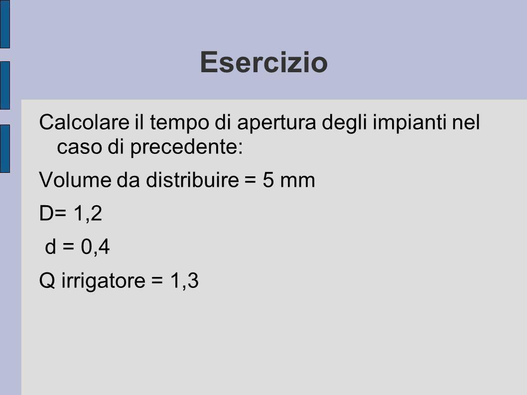 Esercizio Calcolare il tempo di apertura degli impianti nel caso di precedente: Volume da distribuire = 5 mm.