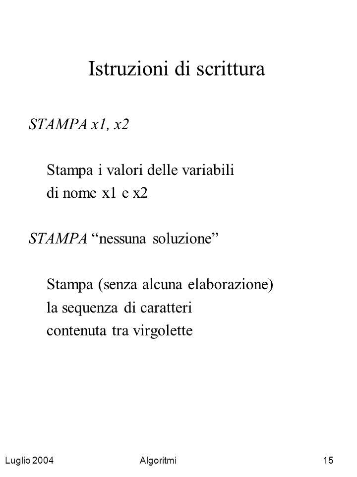 Istruzioni di scrittura