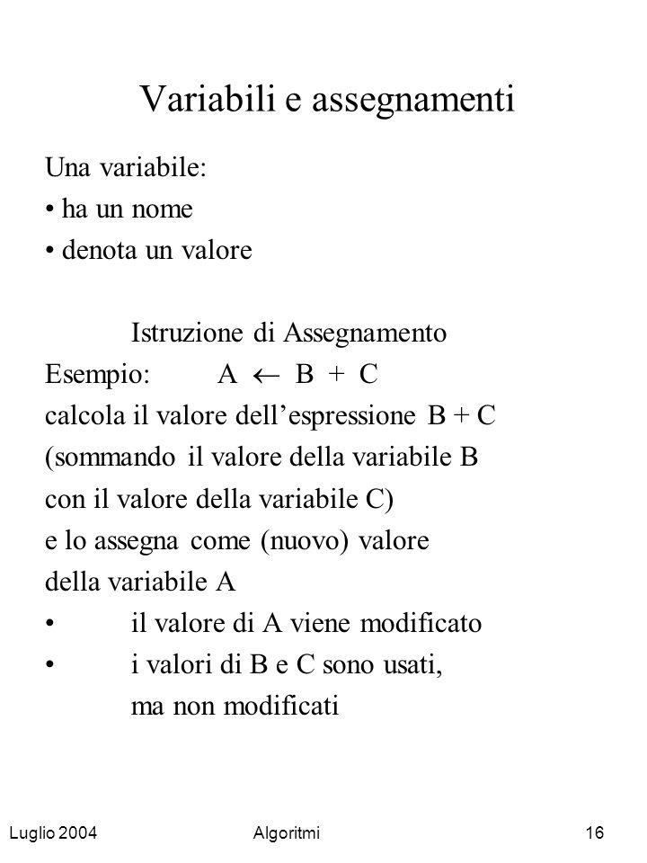 Variabili e assegnamenti