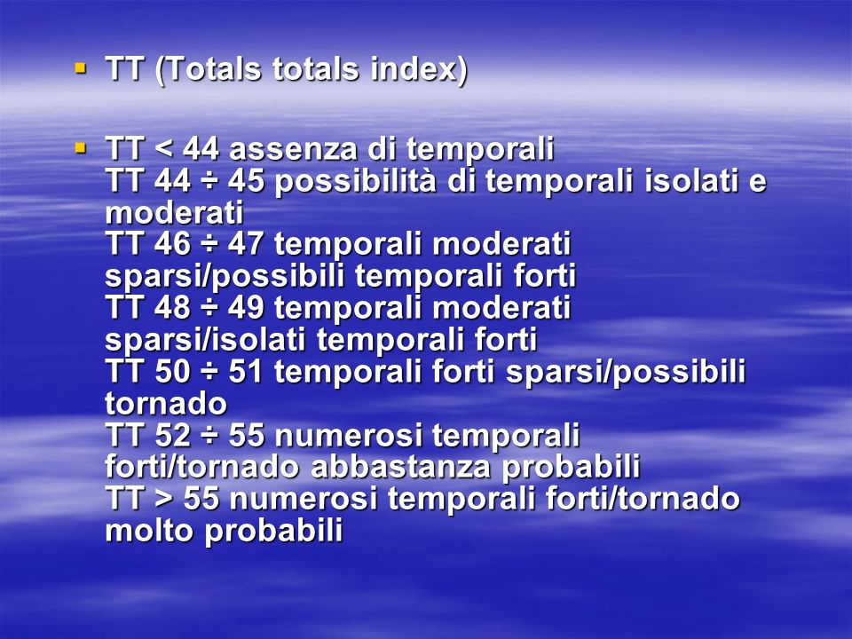 TT (Totals totals index)
