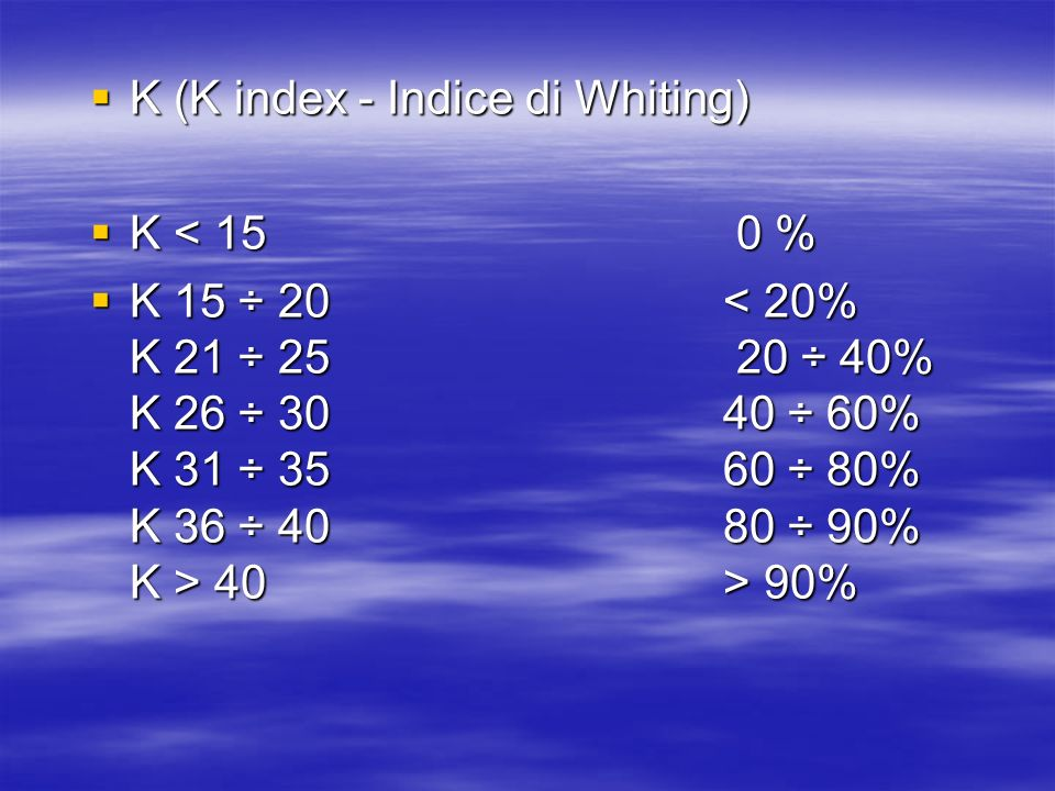 K (K index - Indice di Whiting)