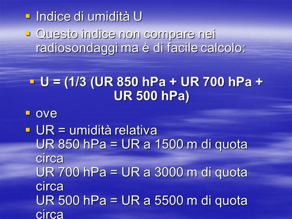 U = (1/3 (UR 850 hPa + UR 700 hPa + UR 500 hPa)