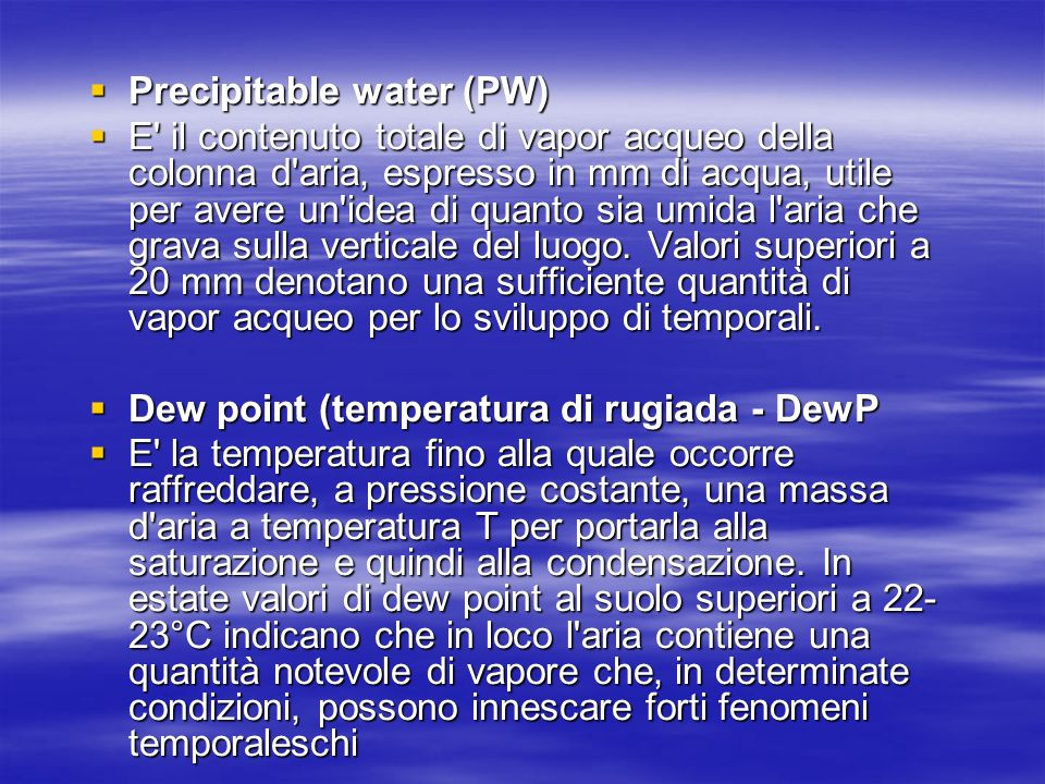 Precipitable water (PW)